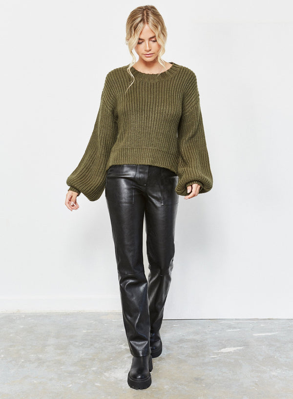 Ella Back Detail Jumper Khaki