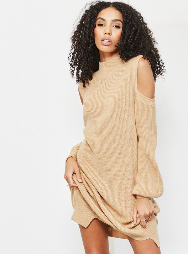 Hamlin Roll Cold Shoulder Sweater Dress Camel
