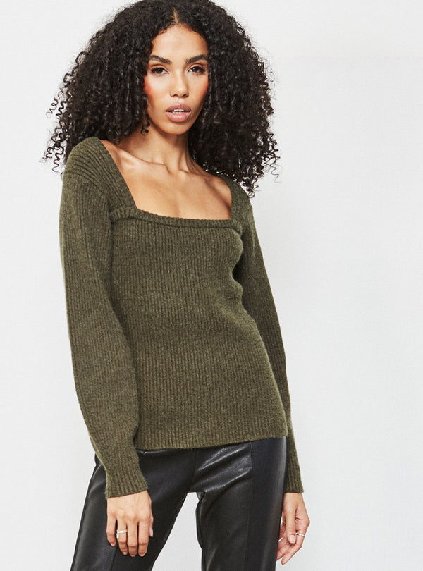 Leighton Square Neck Jumper Khaki