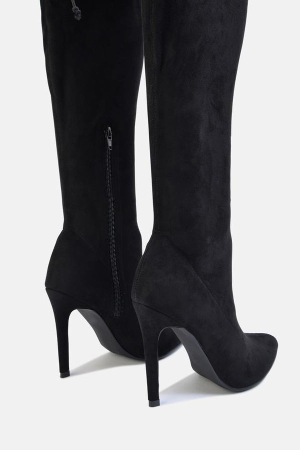 Molly Over The Knee Stiletto Long Boot Black