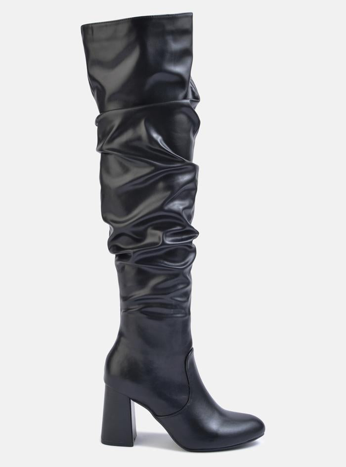 Orlando Over The Knee Slouch Boot Black Pu