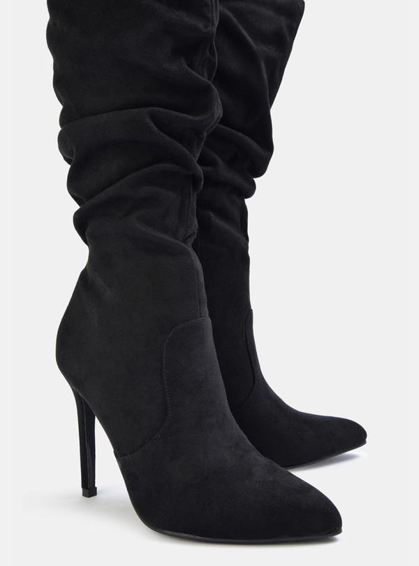 Hugh Slouch Stiletto High Heel Boots Black Suede