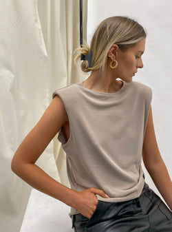 Devon Padded Shoulder T-Shirt Nude