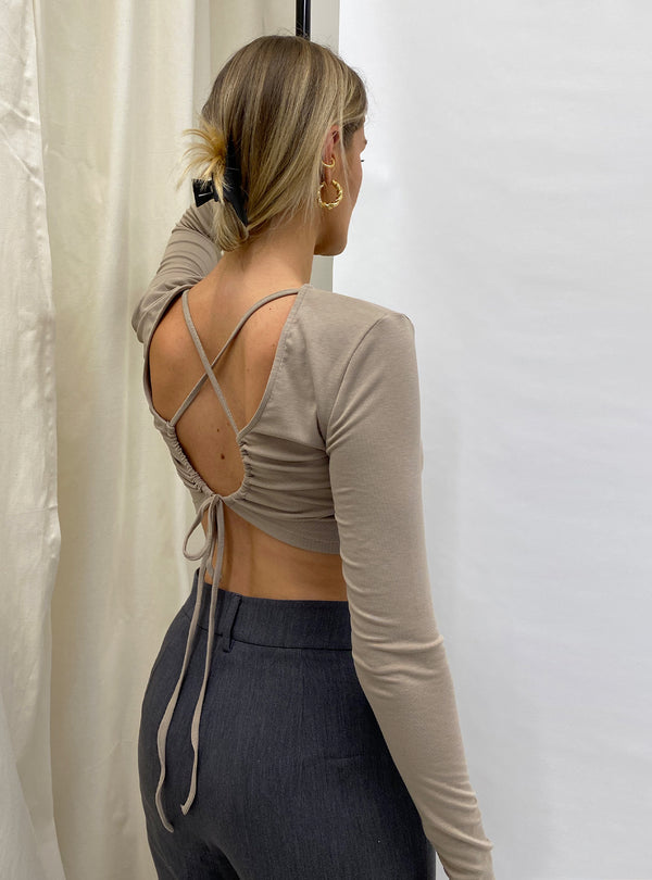 Mimi Long Sleeve Tie Back Crop Top Nude