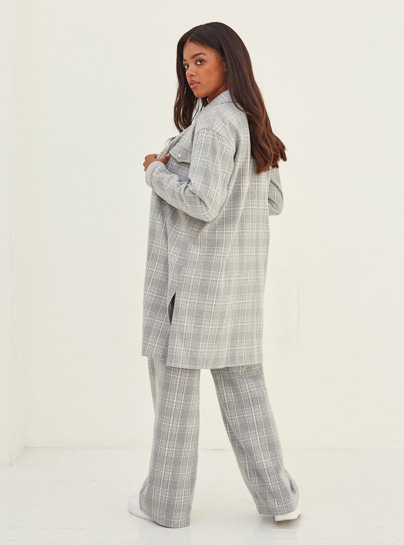 Nina Wide Leg Pants Grey Check