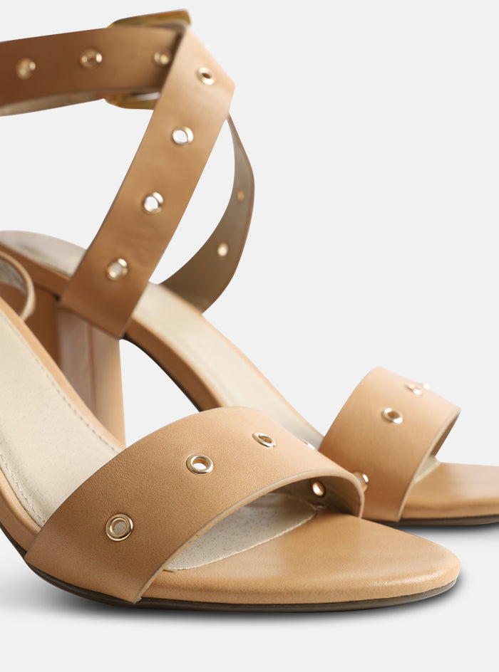 Adrianna Strappy Block Heel Sandal Nude