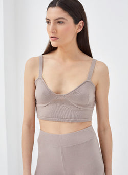 Amour Knitted Bralet Greige