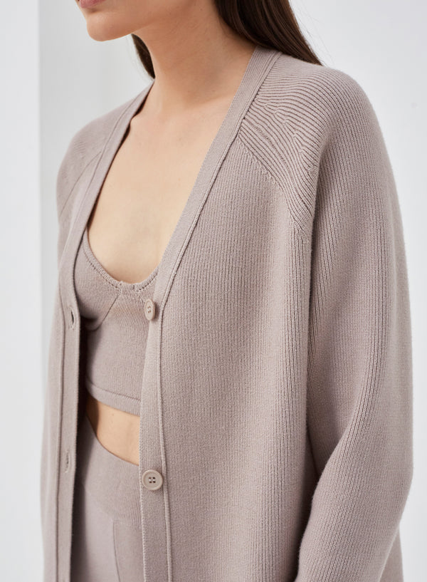 Amour Knitted Buttoned Cardigan Greige