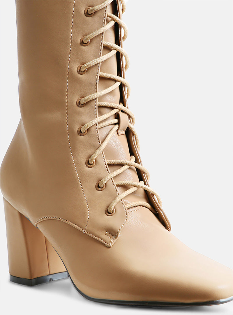 Avri Square Toe Lace Up Ankle Boot Nude