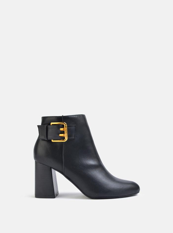 Bentley Side Buckle Detail Ankle Boot Black Pu