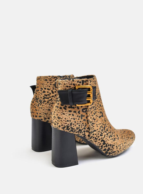 Bentley Side Buckle Detail Ankle Boot Leopard