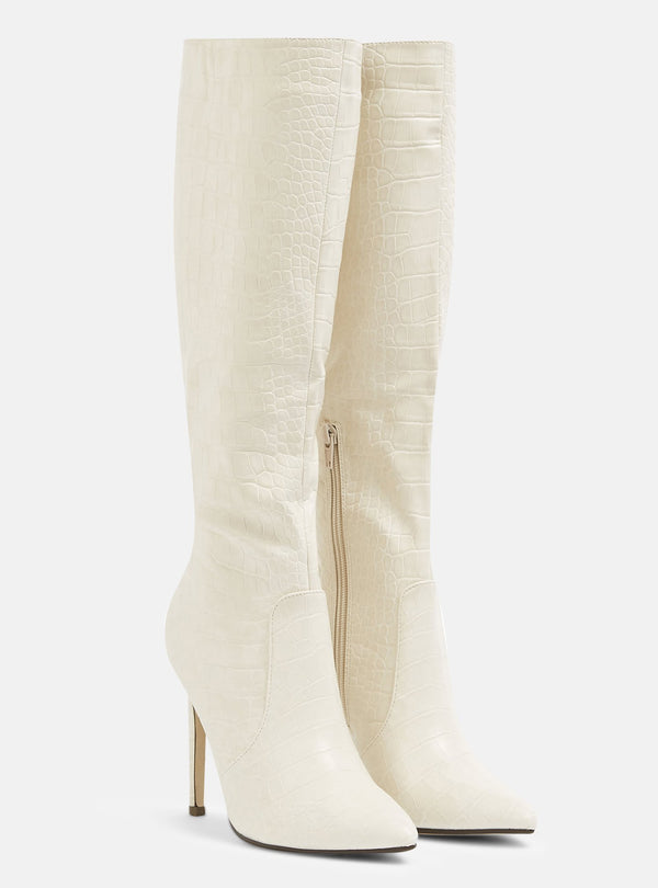 Blanco Knee High Stiletto Boot Cream