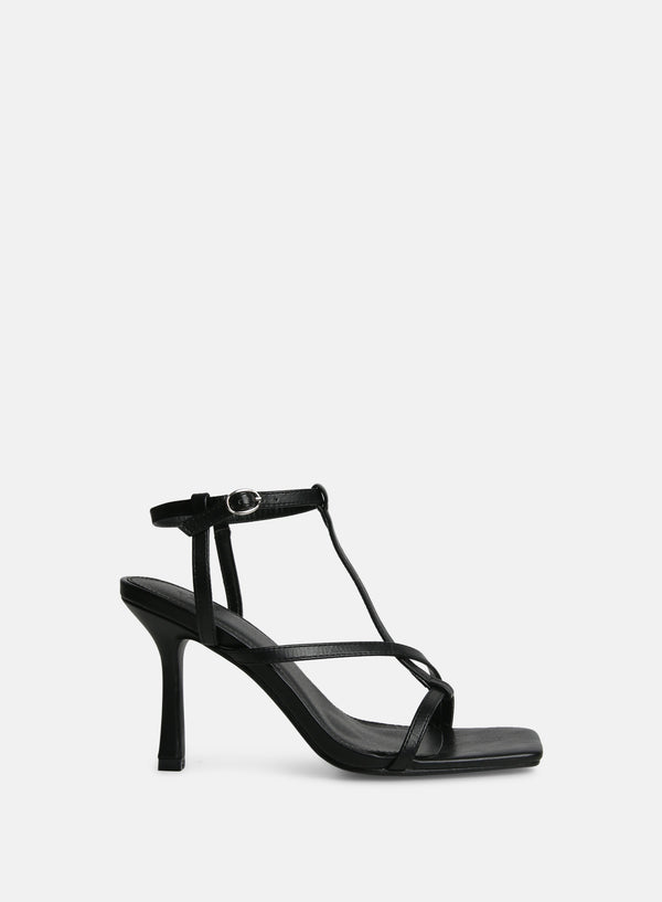 Boa Square Toe Strappy Heel Black