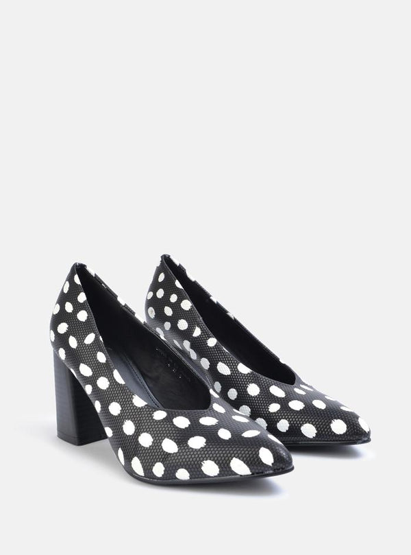 Carrie V-Cut Block Heel Court Shoe Black Spot Pu