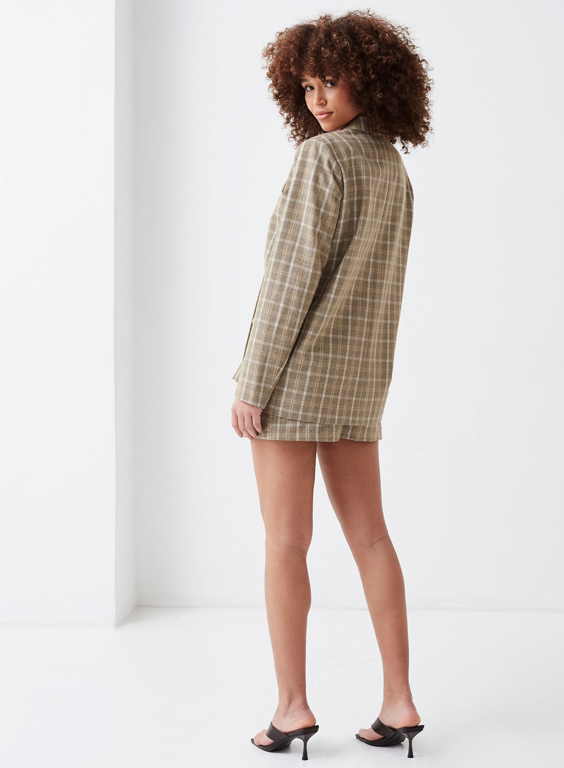 Chance Oversized  Blazer Beige Check