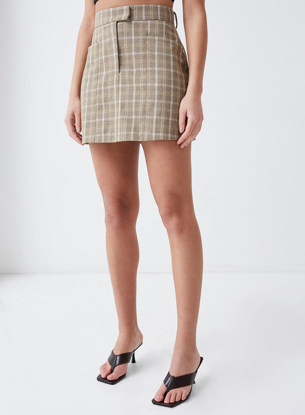 Chance Mini Skirt Beige Check