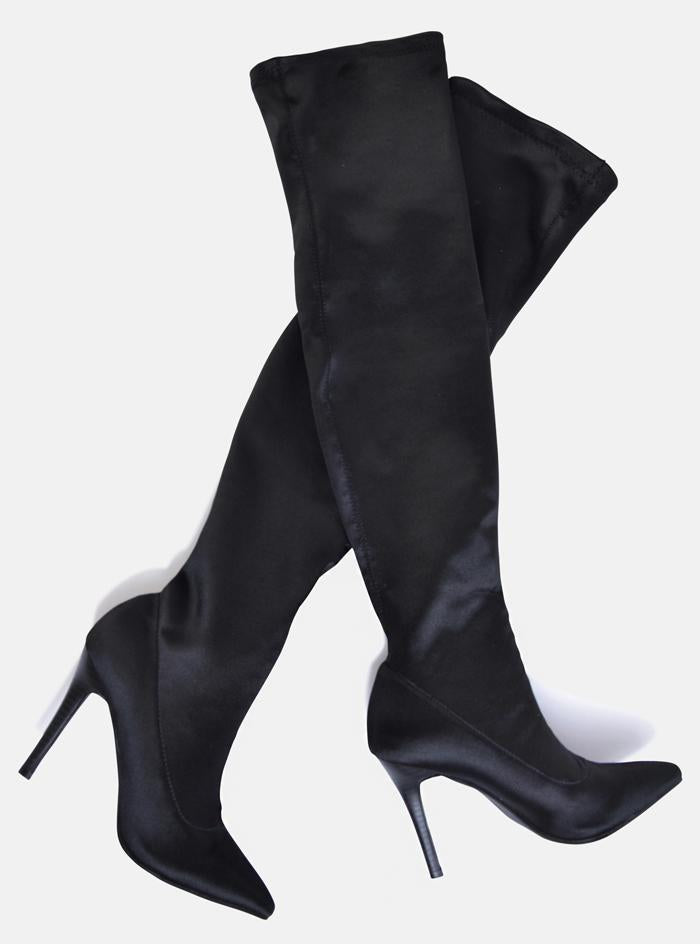 Chicago Sock Thigh High Boots Black Stretch Satin