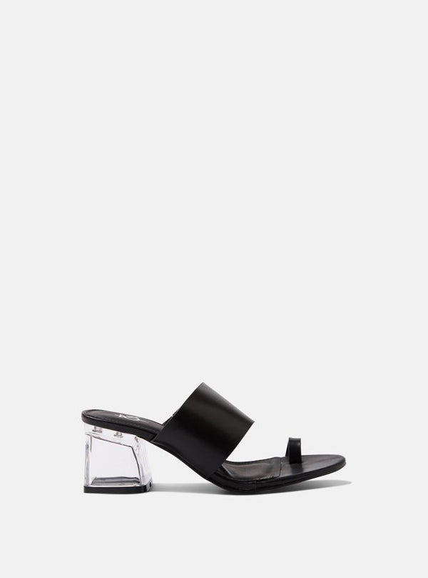 Chi Clear Heel Toe Strap Mule Sandals Black Pu