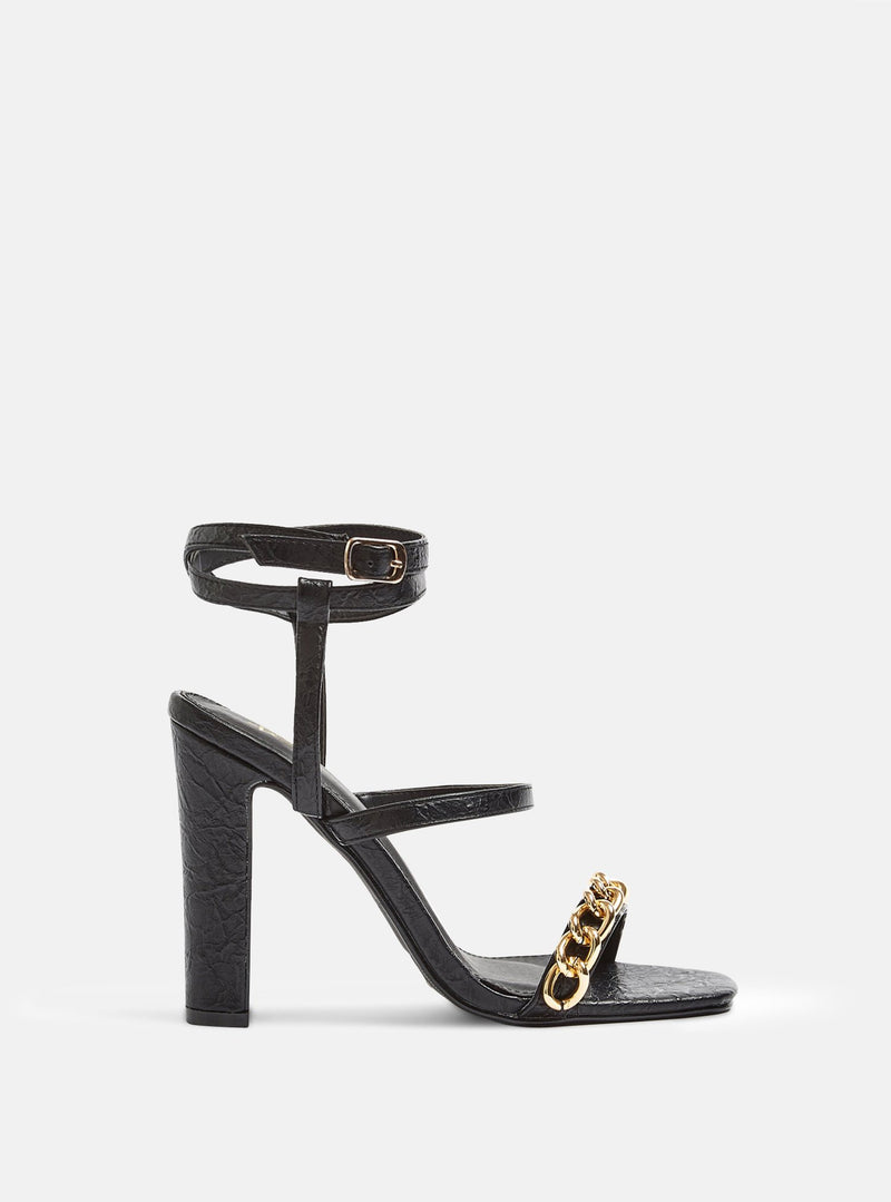 City Chain Strap Block Heel Black