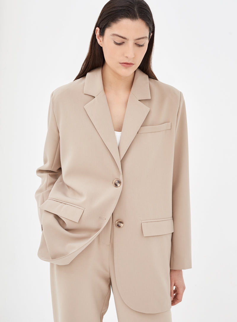 Colette Oversized Tailored Blazer Beige