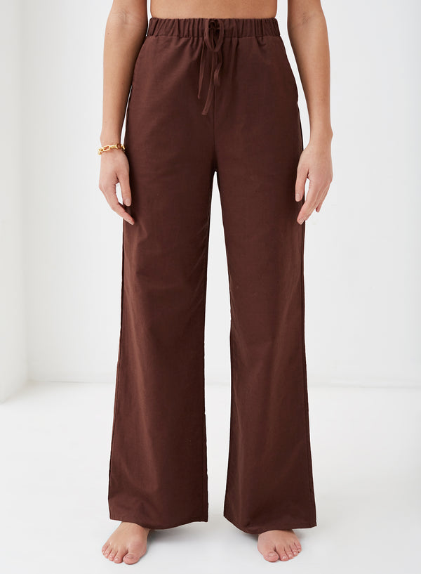 Concetta Linen Wide Leg Pants Chocolate