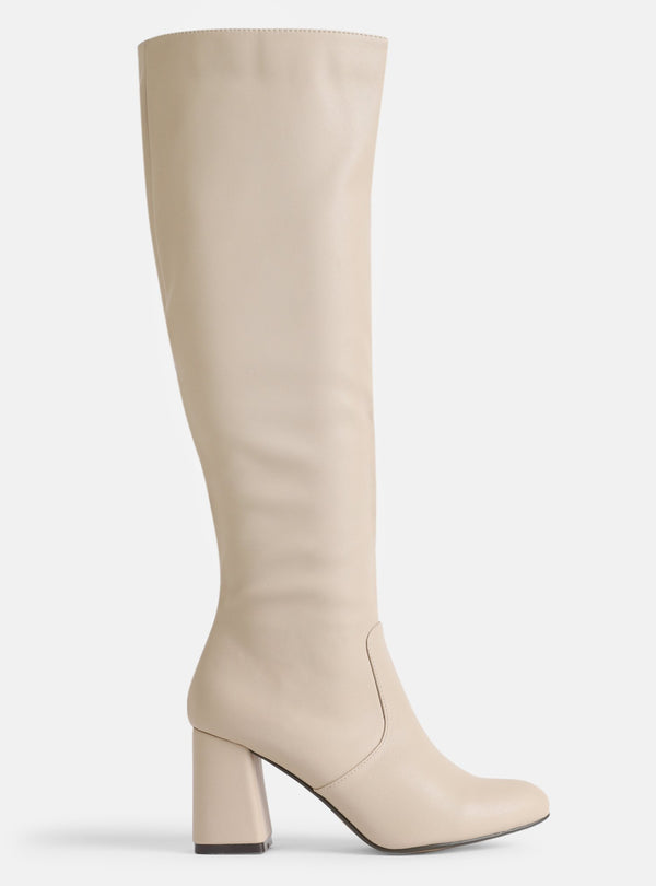 Dustin Knee High Boot Cream