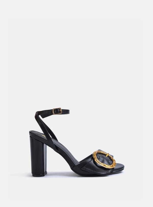 Eleven Circle Buckle Block Heel Sandals Black Pu