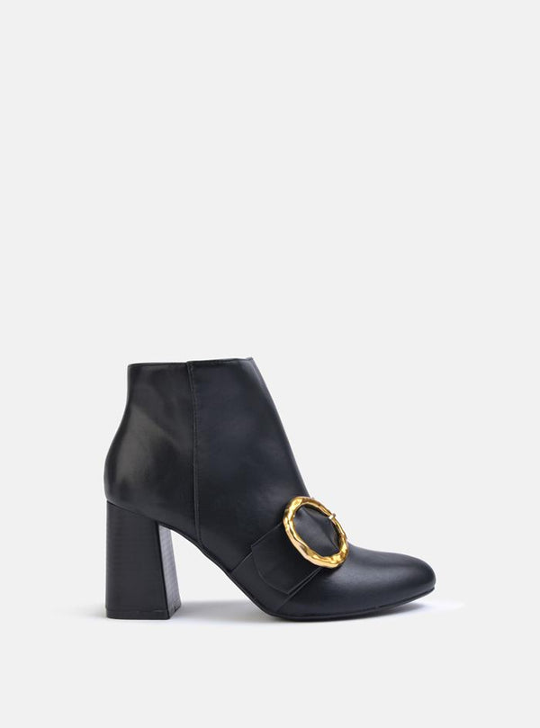 Florence Circle Buckle Block Heel Ankle Boot Black Pu