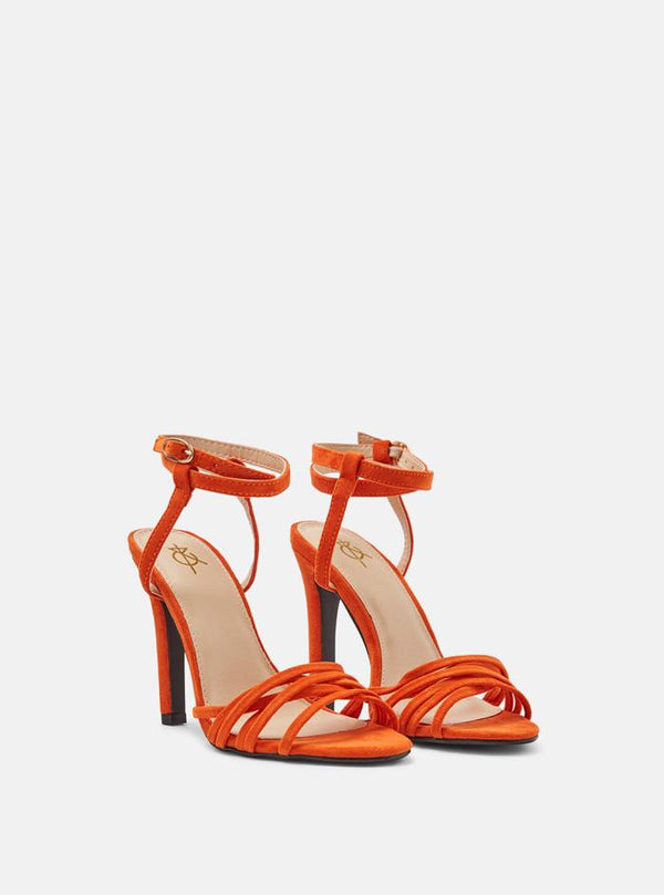 Gigi Multi Strap Heeled Sandal Orange Suede