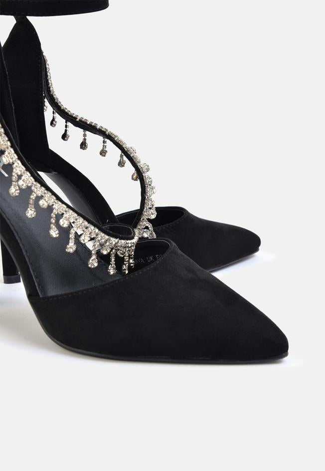 Harvey Embellished Strap Court Shoe Black