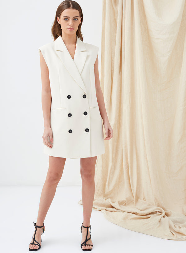 Holden Shoulder Pad Blazer Dress Cream