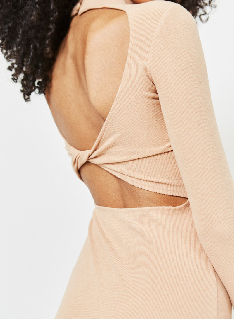 Hutton Twist Back Dress Camel
