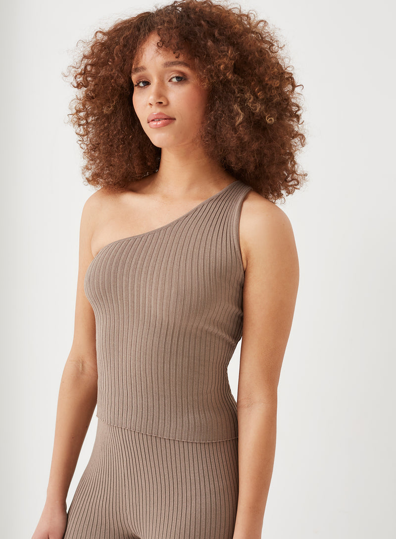 Inka One Shoulder Knitted Top Mocha