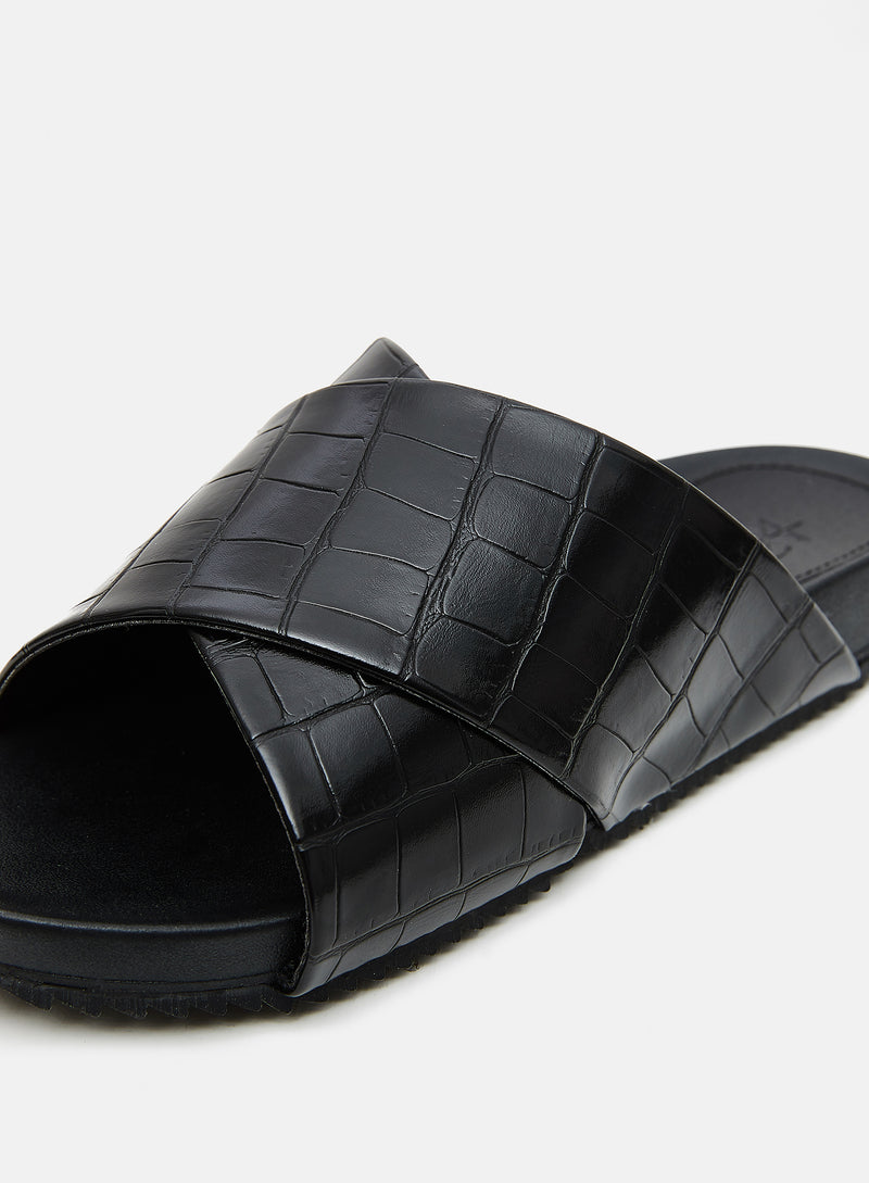 Jane Crossover Slider Black Croc