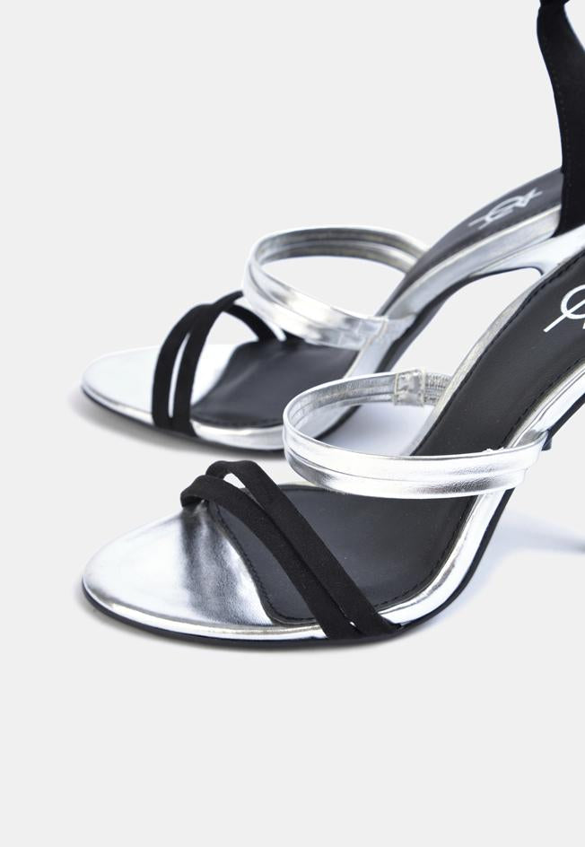 January Multi Strap Heeled Sandal Silver And Black