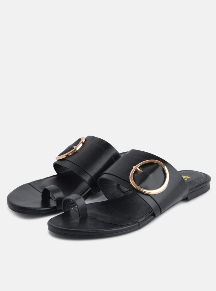 Jones Gold Buckle Flat Sandal Black Pu