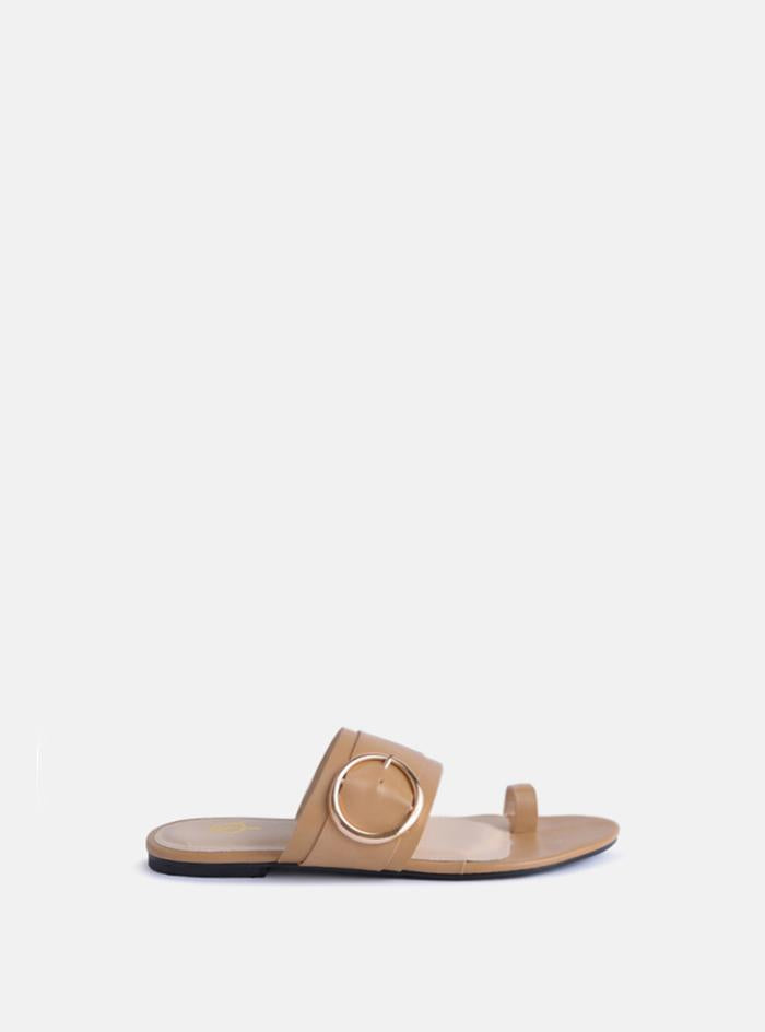 Jones Gold Buckle Flat Sandal Nude Pu