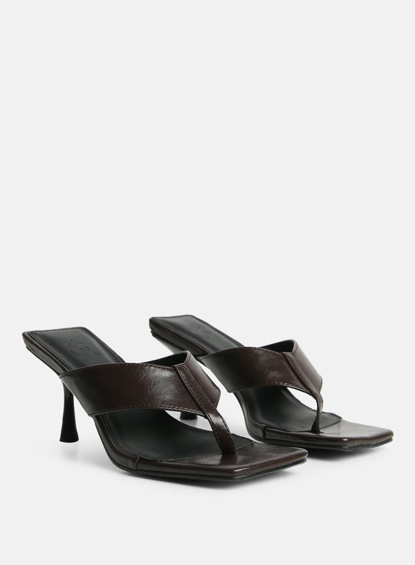 Josefine Toe Post Heeled Mule Chocolate