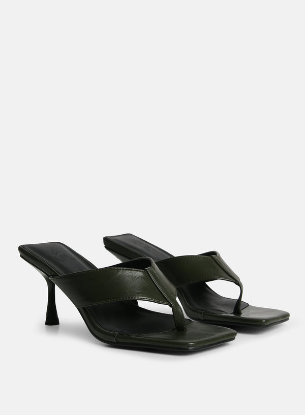 Josefine Toe Post Heeled Mule Green