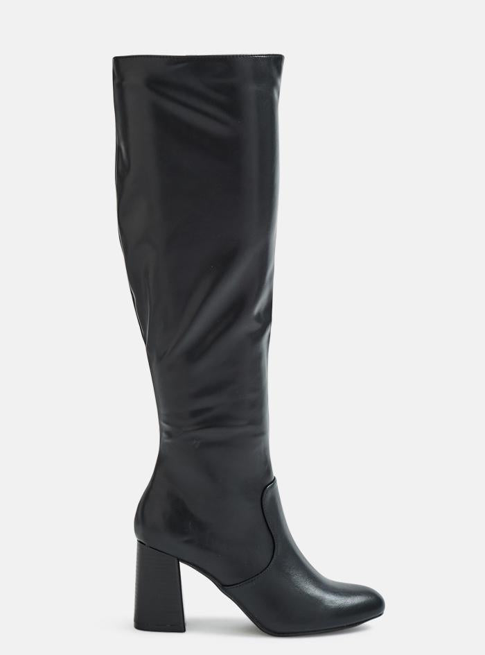 Dustin Straight Leg Block Heel Thigh Boots Black Pu | 4th & Reckless