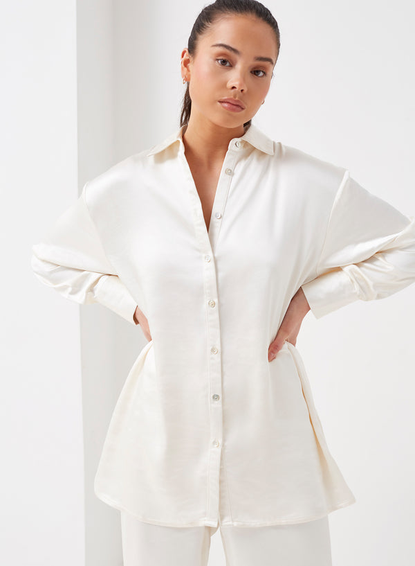 Leo Longline Satin Shirt Cream