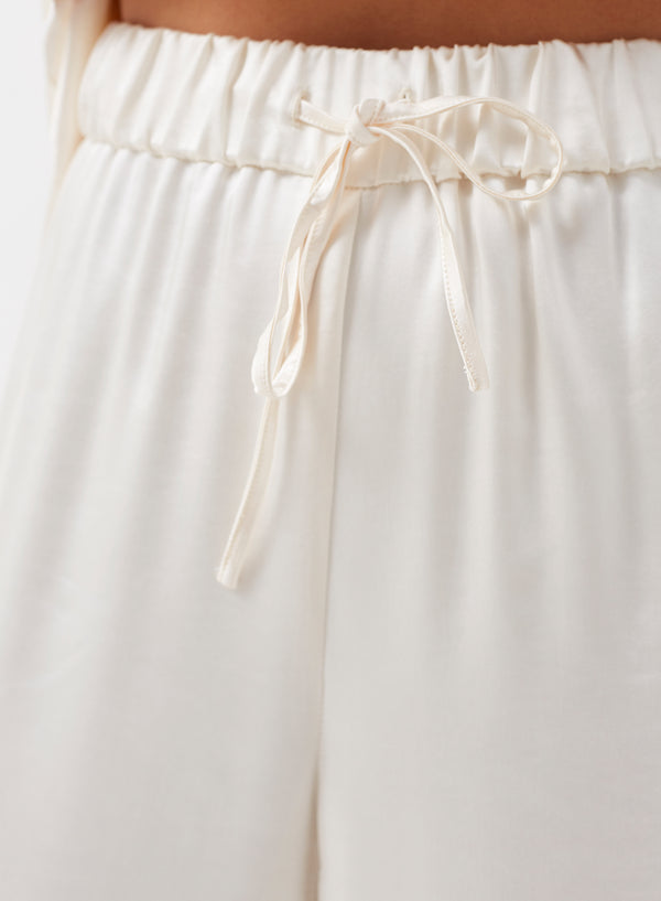 Leo Wide Leg Satin Pants Cream