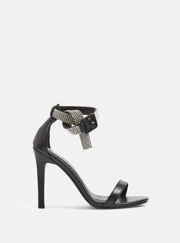 Logan Diamante Strap Heeled Sandal Black