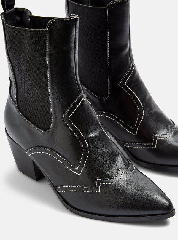Lola Western Ankle Boot Black