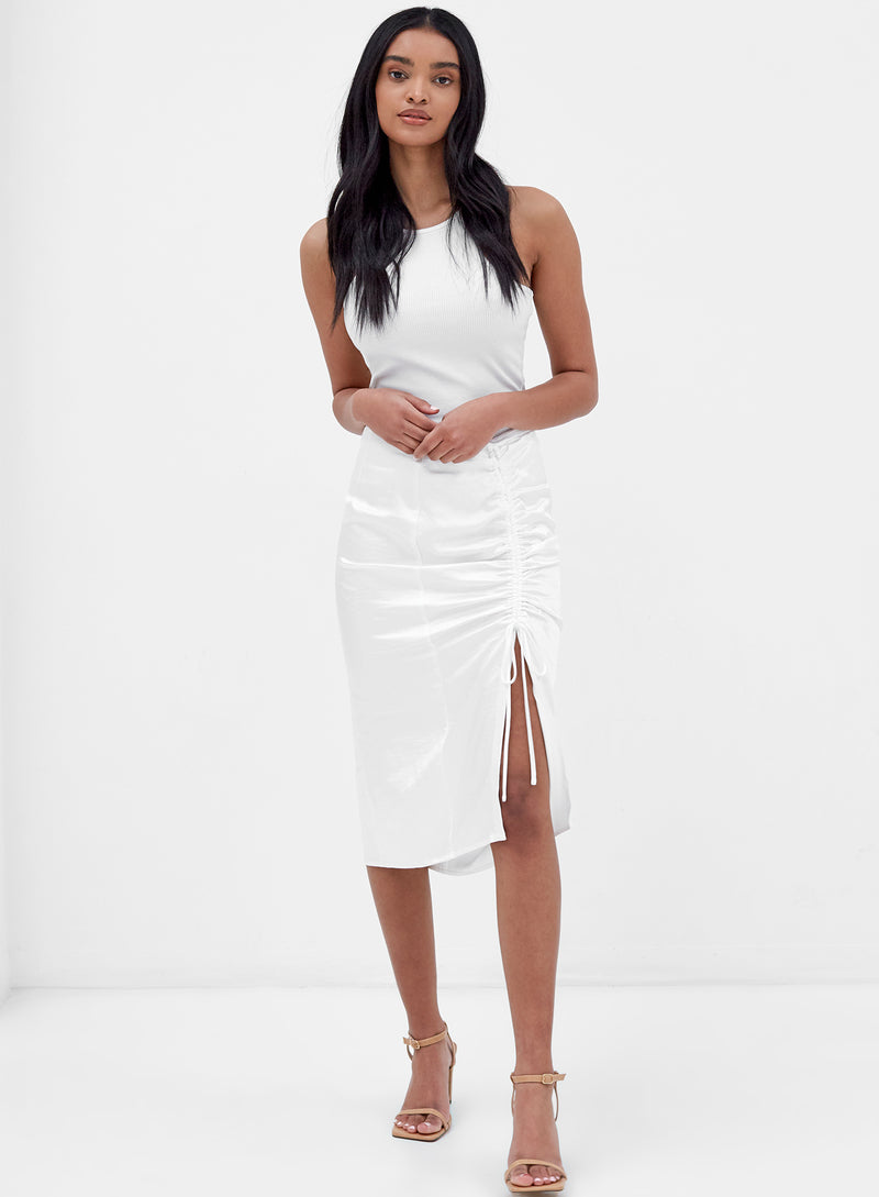 Lottie Ruched Midi Skirt White Satin