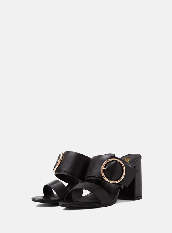 Louisa Buckle Front Mule Black Pu