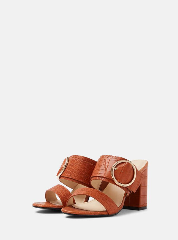 Louisa Buckle Front Mule Tan Crock