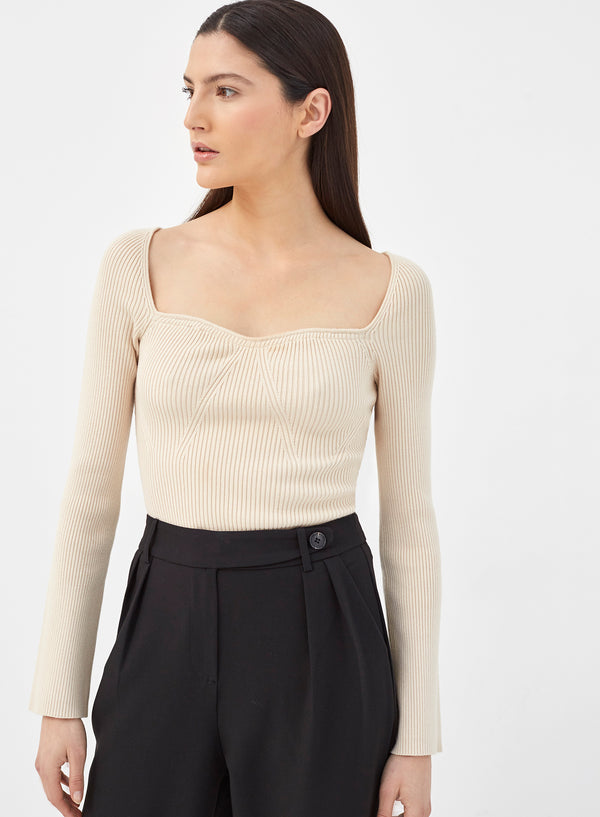 Loulou Long Sleeve Knitted Bodysuit Cream