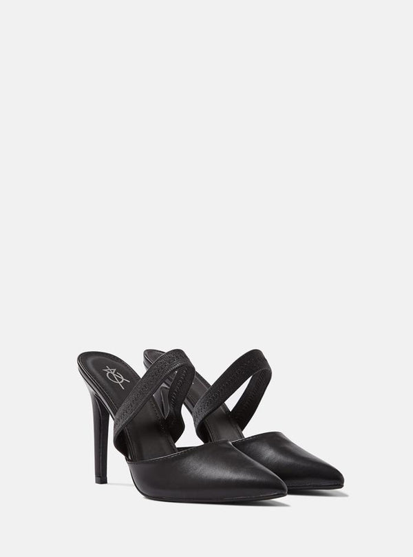 Manhattan Elastic Back Strap Court Shoe Black Pu