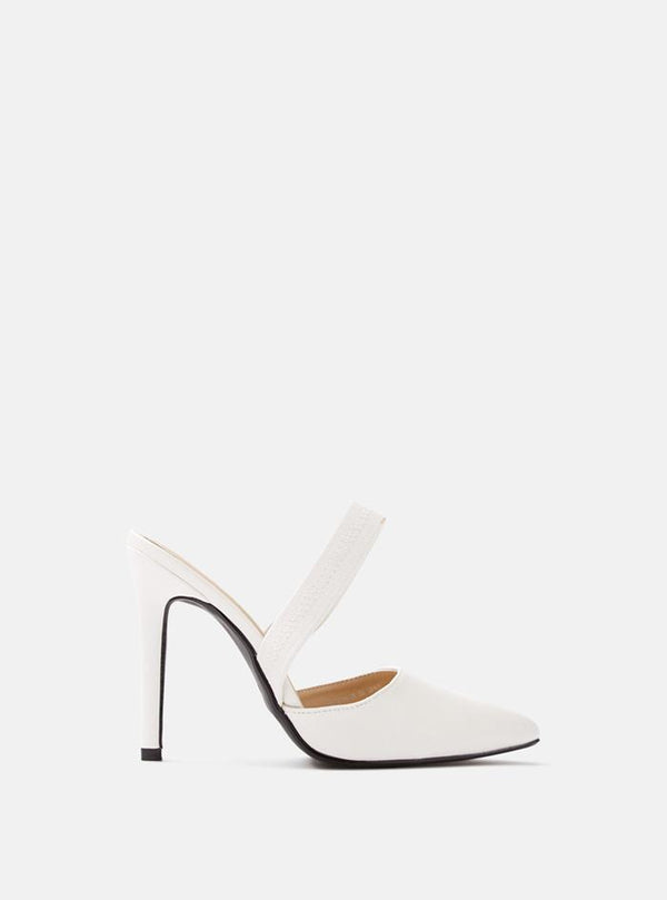 Manhattan Elastic Back Strap Court Shoe White Pu